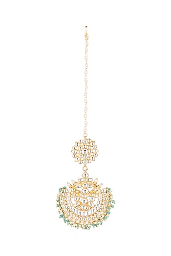 Matte Gold Plated Beaded Maang Tikka by Riana Jewellery