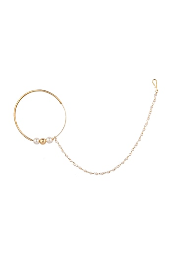 Matte Gold Plated Pearl Nose Ring by Riana Jewellery