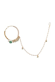 Matte Gold Plated Green Beaded Nose Ring by Riana Jewellery
