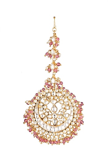 Matte Gold Plated Bead & Stone Maang Tikka by Riana Jewellery