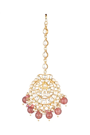 Matte Gold Plated Pastel Pink Beaded Maang Tikka by Riana Jewellery