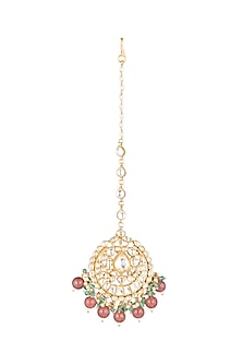 Matte Gold Plated Jadtar Stone Maang Tikka by Riana Jewellery