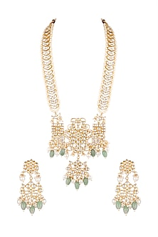 Matte Gold Plated Beaded Pendant Necklace Set by Riana Jewellery