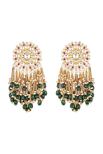 Matte Gold Plated Beaded Earrings by Riana Jewellery