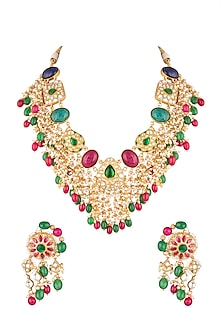 Matte Gold Plated Jadtar & Bead Necklace Set by Riana Jewellery