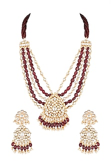 Matte Gold Plated Long Pendant Necklace Set by Riana Jewellery