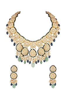 Matte Gold Plated Beaded Necklace Set by Riana Jewellery
