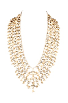 Matte Gold Plated Pearl Mala Necklace by Riana Jewellery