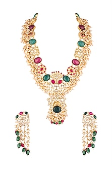Matte Gold Plated Jadtar Necklace Set by Riana Jewellery