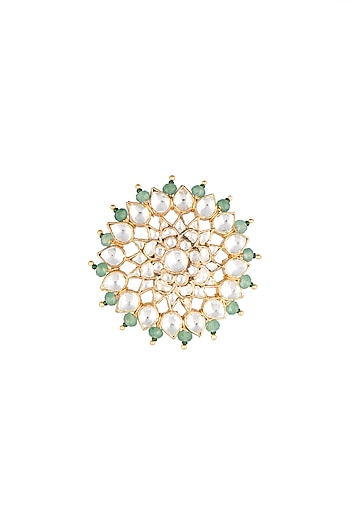 Matte Gold Plated Jadtar Floral Ring by Riana Jewellery