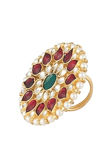 Gold plated red and green ring by RIANA JEWELLERY
