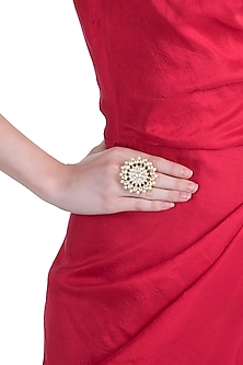 Gold plated jadtar floral pearl ring by RIANA JEWELLERY
