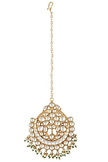 Gold plated green and white maang tikka by RIANA JEWELLERY