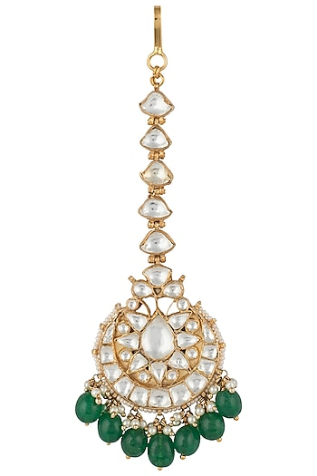 Gold plated white and green drops jadtar maang tikka by RIANA JEWELLERY