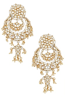 Gold plated white chandbali earrings by RIANA JEWELLERY