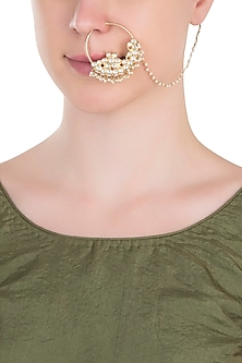 Gold plated white stones nose ring by RIANA JEWELLERY