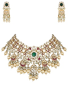Gold plated jodhpur style green stone necklace set by RIANA JEWELLERY