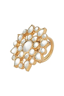 Gold plated white jadtar ring by RIANA JEWELLERY