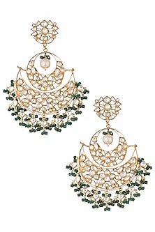 Gold plated green bead chandbali earrings by RIANA JEWELLERY