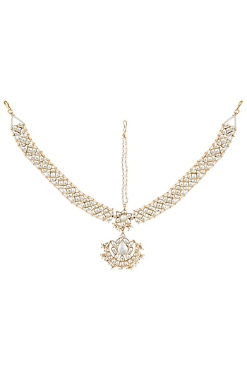 Gold plated white stone mathapatti by Riana Jewellery