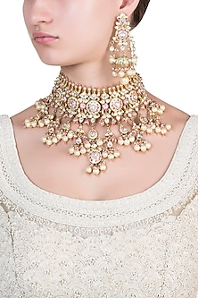 Gold plated meenakari necklace set by Riana Jewellery