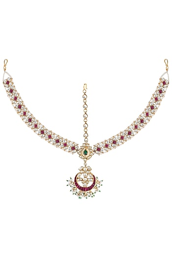 Gold plated pink and white stone mathapatti by Riana Jewellery