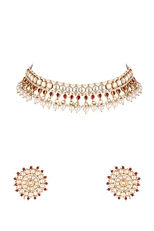 Gold Plated Pearl Necklace Set by Riana Jewellery