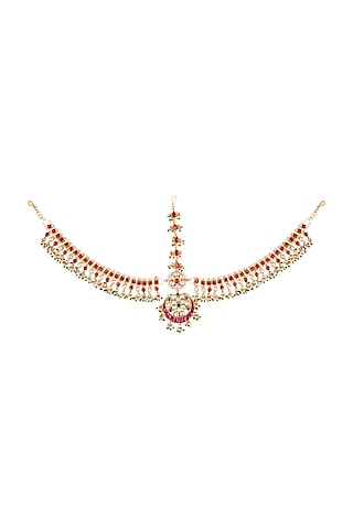 Gold Plated Matha Patti With Green Bead Hangings by Riana Jewellery