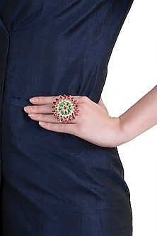 Gold plated green and pink floral ring by RIANA JEWELLERY