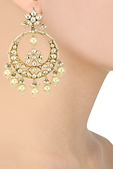 Gold Plated Pink and White Jadtar Stones Chandbali Earrings by Riana Jewellery