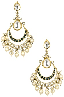 Gold Plated White and Green Jadtar Stones Crescent Earrings by Riana Jewellery