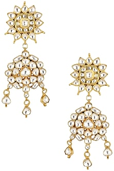 Gold Plated Jadtar Stones Two Tier Earrings by Riana Jewellery