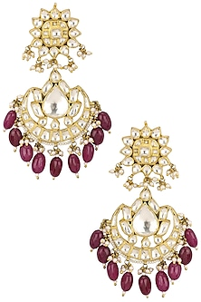 Gold Plated Jadtar Stones and Pearl Chandbali Earrings by Riana Jewellery