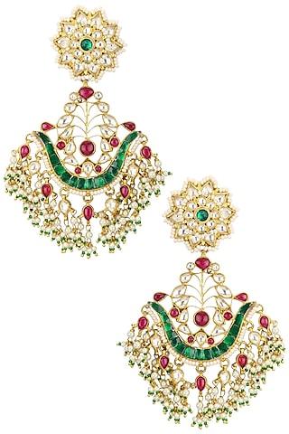 Gold Plated U Shaped Chandbali Earrings by Riana Jewellery