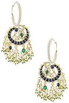 Gold Plated Blue and White Jadtar Stone Hoop Earrings by Riana Jewellery