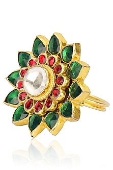 Gold Plated Pink and Green Jadtar Stone Flower Ring by Riana Jewellery