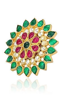 Gold Plated Pink, Green and White Stone Flower Ring by Riana Jewellery