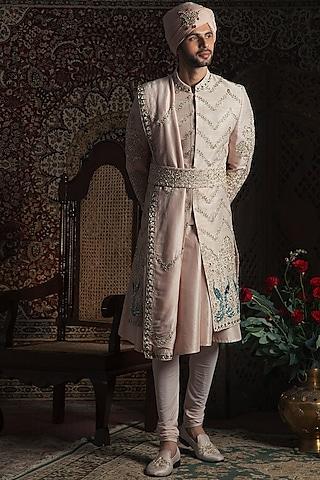 Powder Peach Embroidered Sherwani Set by Rachit Khanna Men