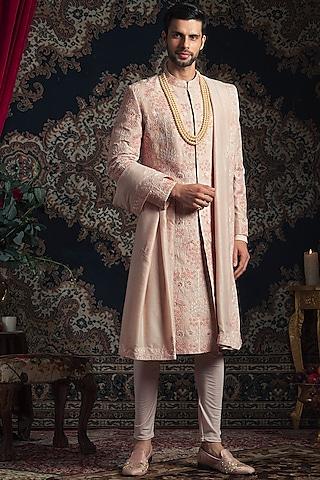 Light Peach Embroidered Sherwani Set by Rachit Khanna Men