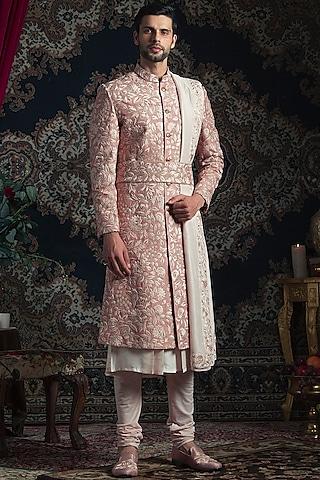 Rose Gold Embroidered Sherwani Set by Rachit Khanna Men