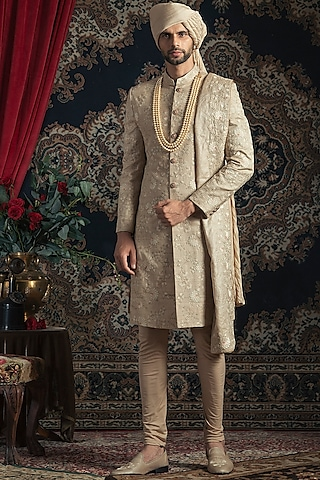 Gold Embroidered Sherwani Set by Rachit Khanna Men