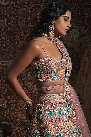 Rose Gold Embroidered Lehenga Set by Rachit Khanna
