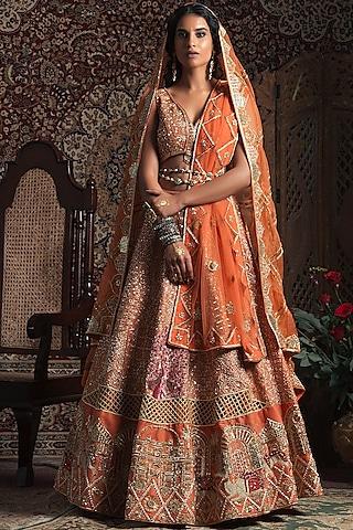Tangerine Embroidered Lehenga Set by Rachit Khanna
