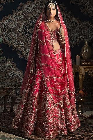 Hot Pink Embroidered Lehenga Set by Rachit Khanna