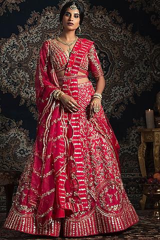Neon Pink Embroidered Lehenga Set by Rachit Khanna