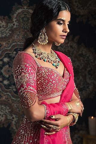 Hot Pink Embroidered Raw Silk Lehenga Set by Rachit Khanna