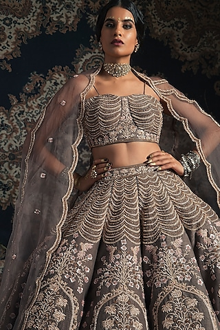 Milky Grey Embroidered Lehenga Set by Rachit Khanna