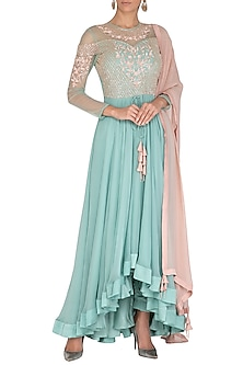 Teal Blue Embroidered Anarkali Set by Rachit Khanna