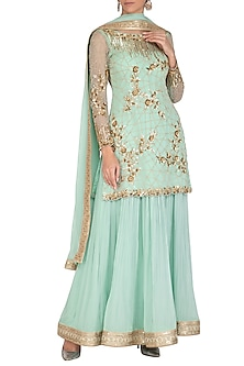 Teal Blue Embroidered Sharara Set by Rachit Khanna