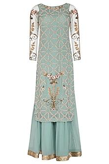 Blue Embroidered Sharara Set by Rachit Khanna